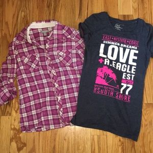 🛍 4 for $20 Plaid Button Up & AE Summer T-Shirt